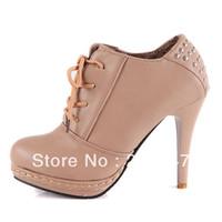 Half Boots Women PU Sexy platform stiletto women work shoes retro fashion rivet lacing ankle boots size 34-42 black brown beige