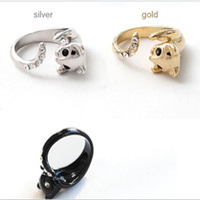 Wholesale Diamond Animal Cat Ring Crystal rings Kitten Free Size Free Gift