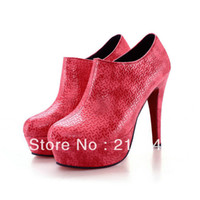 Wholesale 2014 Sexy stiletto ankle boots stylish embossed fabric shoes size OL office dating platform heels red soles drop shipping