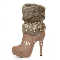 Half Boots Women Winter 2013 winter new women sexy stiletto platform shoes stitching metal fringed fashion boots size 32-43 black brown apricot