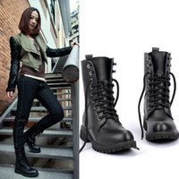 New Black Round Toe Buckle Riding Motorcycle Knee High Low Heel Flat Boots 5.5