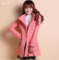 Coats Women Cotton coats Free Shipping Red Clover 2013 Autumn And Winter Woolen Outerwear Female Medium-Long Slim Woolen Overcoat WT01