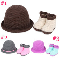 Wholesale 2014 NEW fashion baby crochet set with hat and shoes kids winter wear beautiful children s accessories kids warmer caps sets H294