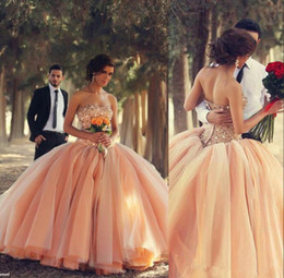 Wholesale 2014 Best Selling Crystal Peach Coral Wedding Dresses Ball Gown Pearls Beaded Garden Bridal Party Prom Pageant Gowns African India Chea