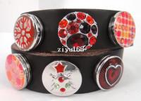 Wholesale fashion chunks Leather snap double Wrap Bracelet Fashion metal chunks snap button leather Bracelet