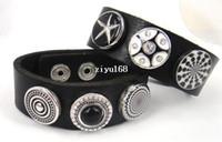 Wholesale fashion chunks Leather snap Wrap Bracelet Fashion metal chunks snap button leather Bracelet