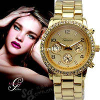 Unisex Round 24 DHL Free Shipping,100 Pcs Lot Fashion Steel Branded Wrist GENEVA watch for Men's and Women's Gift Metal Band Watches