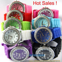 Wholesale UPS DHL Accept Colors Graceful Platinum women s gift watch Silicone rhinestone watch