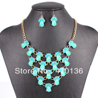 Wholesale PN12591 Fashion Bib Jewelry Set Gold Plated Sky Blue Resin Beads New Design Party Gift