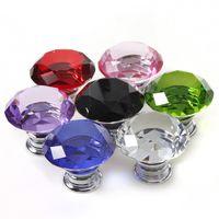 Ceramic Furniture Handle & Knob no New Wholesale 2Pcs Lot 40mm Diamond Crystal Shape Crystal Glass Cabinet Knob Cupboard Drawer Pull Handle 7 Colors