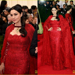 Wholesale Monica Bellucci In Cannes Red Carpet Celebrity Dresses Lace Mermaid Evening Party Gowns With Long Wraps