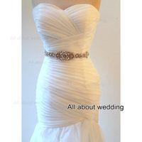 Wholesale 2016 New Style Glass Crystal Rhinestone Beaded Wedding Dress Belt Sash Bridal Accessory Prom Party Evening Belt Tie Back