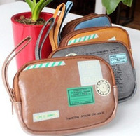 Fabric Pencil Bag Yes Wholesale Travel PU Bags, Storage case, Card and Coin Bags Cosmetic Pouch, 2 pocket, 4 colors 8pcs lot
