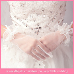 Wholesale Low Price In Promotion Full Long Finger Tulle Bridal Gloves Wedding Dresses Gloves Accessories Cheap In Stock