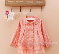 Jackets Girl Spring / Autumn 2014 Girls Lace Patchwork Double Breasted Trench Coat New Style Fashion Polka Dot Turndown Collar Coat