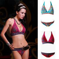 New Sexy Women Bikini Set Indian Totem Printing Swimwear Pad...