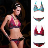 New Sexy Women Bikini Set Indian Totem Printing Swimwear Pad...