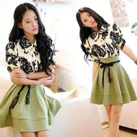 Wholesale Autumn Sweet Girls Womens Shirts Dresses Black Rose Floral Printed Short Sleeve Stretchable Tops Blouses Splice A line Skirts Free Belt