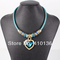 Beaded Necklaces Women's Fashion MN1037 Fashion Leather Necklace Punk Design Heat Pendant High Quality 2014 New 3Colors Party Gifts