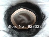 Wholesale Fast x6Men s Toupee inch indian human hair slight wave stock Men toupee Colour Jet Black B In Stock Toupees