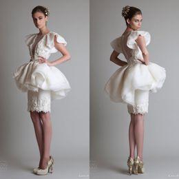 Wholesale 2014 Unique Design Wedding Dresses krikor Jabotian Knee Length V neck Sheath Column Ivory Satin Crew Zipper Short Sleeve Capped Sheath