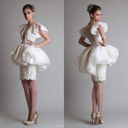Wholesale 2017 Robes de mariée uniques design krikor Jabotian longueur au genou col en V Colonne Ivory satin Crew fermeture à glissière manches courtes fourreau