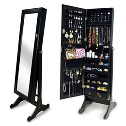 Wholesale Floor Stand Wooden Full Length Mirror Jewelry Cabinet Armoire Storage Cabinet Chest Necklaces Bracelets Stock in USA