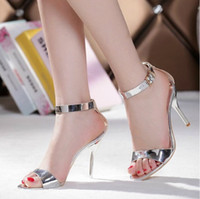 Wedding Heels High Heel Summer Sexy Dress Sandals Silver Stiletto Heels Genuine Leather Bridal Wedding Dress Shoes Bridesmaid Shoes Party Prom High Heels