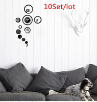 Mechanical Acrylic Antique Style 10Set Lot Home Decoration Mirror effect ring wall clock DIY 3D interior decoration living room,wall watches