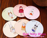 Wholesale Miss Rabbit Pocket hand Cosmetic Mirror Cute make up Mirror Round Cartoon Mirror
