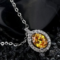 Wholesale Wholesales SWAROVSKI ZIRCONIA CZ Pendant white gold plated Fancy Yellow Color Gem Oval shape crystal gift women MSP1227E1