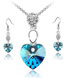 Wholesale-Free Shipping Wholesale And retail Pure Crystal Fashion Silver Heart Necklace Earrings Jewelry Set 6 Colors for Female M003