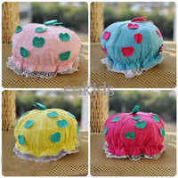 apple beanie babies - Kids Newborn Baby Hats Infant Cute Lace Beanie Girls Apple Applique Hats Fashion Casual Princess CapsKC40411