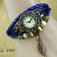 Wholesale High Quality Cow Leather Strap Casual watches Women Genuine Leather Vine Watch Leaf Pandent bracelet Wristwatches Fashion watch
