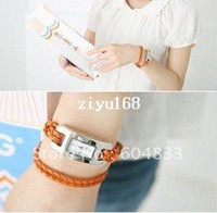 Modern leather cord braided - fashion Braided Leather Cord bracelet Lady wrist watch Hot