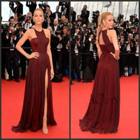 Crew formal gowns - 2015 Blake Lively Dresses The th Cannes Film Festival Split Side Jewel Sleeveless Pleats Chiffon Burgundy Evening Dresses Formal Gowns