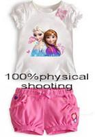 animate hot short - 8 off Fashion Animated cartoon frozen elsa Anna Generous T shirt shorts suit Sophia princess Retail hot sale DROP SHIPPING suit DM