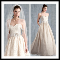 New designs Sleeveless Lace Applique Pleated Wedding Dresses...