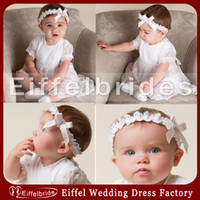 Wholesale Attractive Lovely Unisex Christening Gowns with Pretty Jewel Neckline and Embellished Lace Short Sleeve A line Formal First Communion Gowns