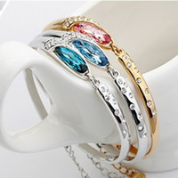 Celtic austrian crystal bangles - Austrian Crystal Gold and silver color full diamond alloy silver plated bangle bracelet Swarovski Crystal Elements Jewelry Bracelet a481