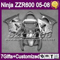 Wholesale 7gifts For KAWASAKI NINJA ZZR600 ZZR Silvery ZZR SZ39 ZX636 black flames Custom Fairing Kit