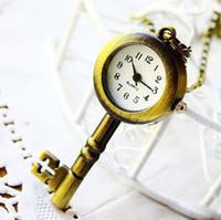 Unisex antique clock keys - Christmas vine antique Key Shape pendant Vinta Clock Bronze Pocket Watch Pendant Necklace Ring for girls boys