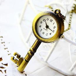 Christmas vintage antique Key Shape pendant Vinta Clock Bronze Pocket Watch Pendant Necklace Ring for girls boys