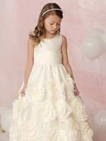 Wholesale Sleeveless flower detailing skirt draped waist flower girls dresses jewel neckline ivory A line girls formal dress wedding party gown