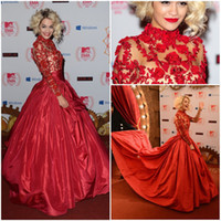 High Neck ball gown prom dresses - Luxury Celebrity Dress Flower Appliques Embroidery High Neck Ball Gown Prom Dress Long Sleeve Sheer Red Taffeta Evening Dresses Women Gown