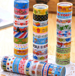 Wholesale Mix Washi Masking Paper Tape Colorful Sticky Creative Stationery DIY Grid Stickers Children Gifts cartoon washi tape FG08005