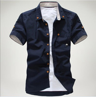 Wholesale man summer small mushroom embroidery stripe bordered male shirt mens dress shirts top sale