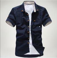 A listra pequena do bordado do cogumelo do verão do homem limitou a camisa masculina, a venda superior das camisas de vestido dos homens o transporte livre