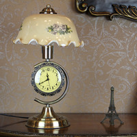E27 glass table clock - Vintage European Clock Dimmer Switch Table Lights Tawny Glass Shade Bedroom Besides Table Lamps Study Room Desk lighting Fixtures