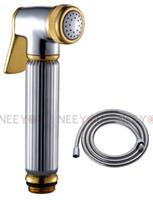 Bidet Sprayer Chrome and Gold Brass Free Shipping Chrome And Gold Brass Bidet Sprayer Supercharging Toilet Hand shower Set Bidet Shattaf Kit Chrome Shower hose
